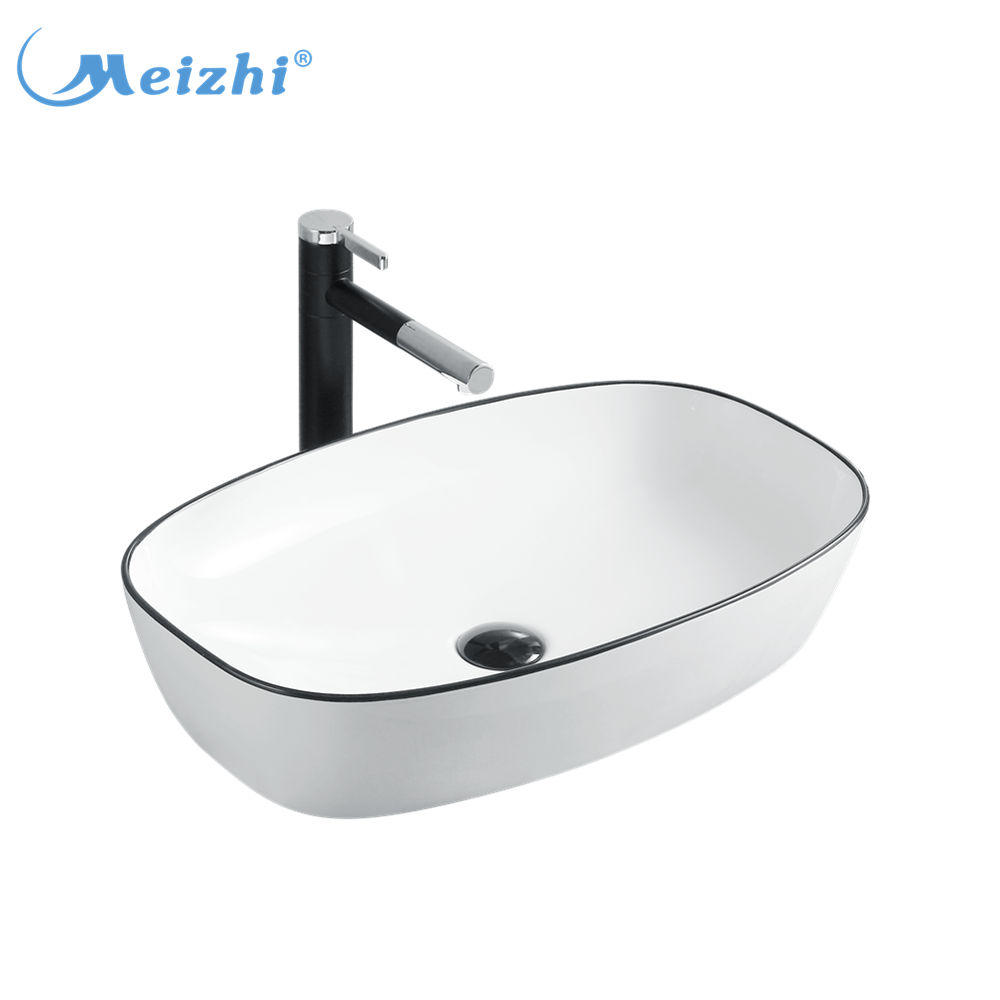 Big size colored ceramic white and black table top wash basin designs