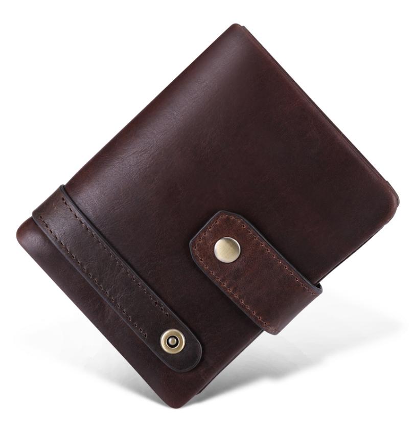 Hot Sale Genuine Leather Men Wallet RFID Vintage Wallet With Coin Pocket Short Wallets Man Purse