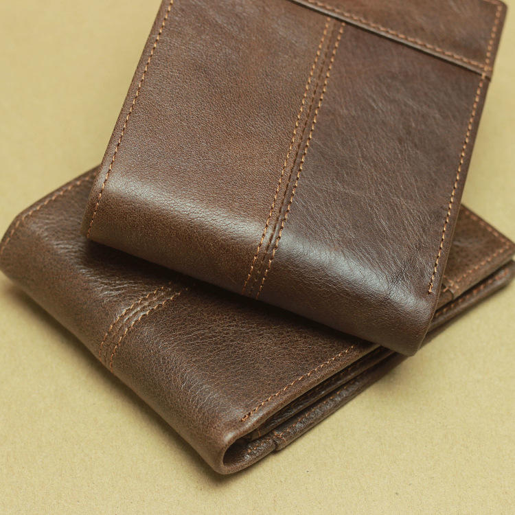 Male Genuine Leather Wallets Men Wallet Credit Business Card Holders Vintage Brown Leather Wallet Purses High Quality Wallets