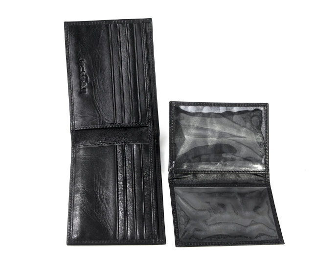 Own Brand China manufacture Billfold Pure Black Leather Men's short wallets business Foldable card cash envelope wallet man