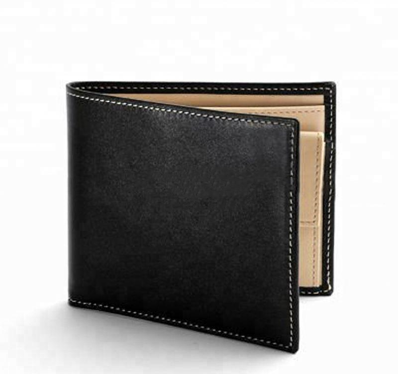 Smooth Black with black Suede Leather Billfold Coin Wallet