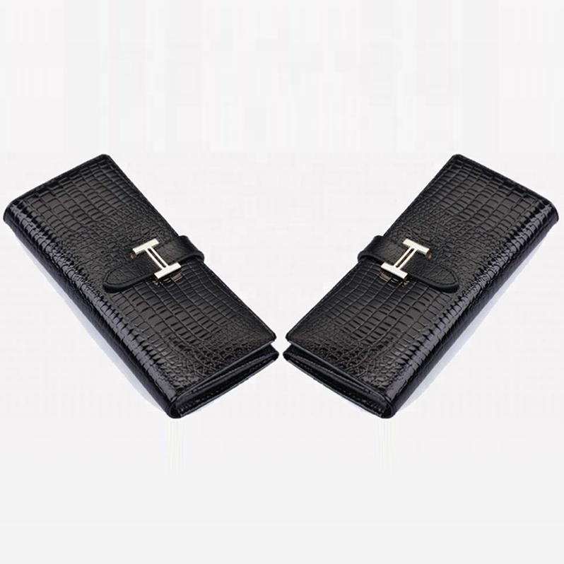Black brand design luxury ladies leather crocodile type H clasp wallets for women fashionable long slim bifold id card purses