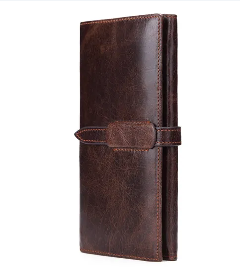 Wholesale Durable Utility Cowhide Leather Men Long Wallet withLarge Capacity