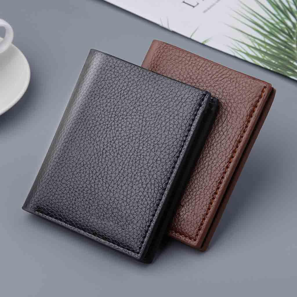 Vintage Men Wallet Leather Short Wallets Male Multifunctional Card Holder Solid Coin Purs Casual Leather Money Clip Dropshipping