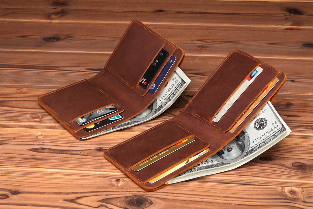 Crazy Horse Leather Men Wallets Retro Handmade Small Purse Top Cow Leather Brand Designer Minimalist Wallet