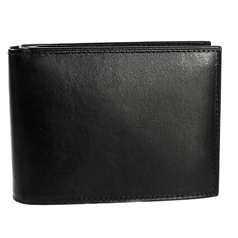 Own Brand China manufacture Billfold Pure Black Leather Men's short wallets business Foldable card cash envelope wallet man