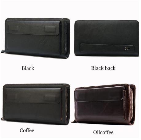 Hot SaleGenuine Leather Clutch Male Men's Clutch Bag Double Zip Wallet Long Wallets Purse Money Bag