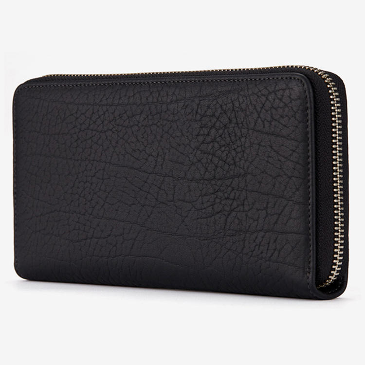 brand designer luxury custom logo black men wallets China factory business cowhide leather clutch longpurse wallet with zipper