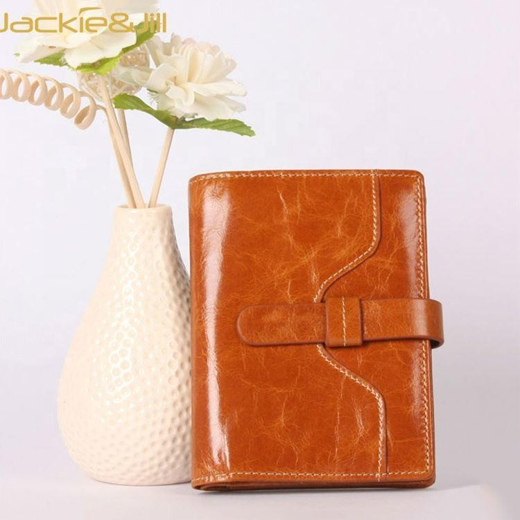 Soft Leather Strap Closure Brown Small Wallet for Woman