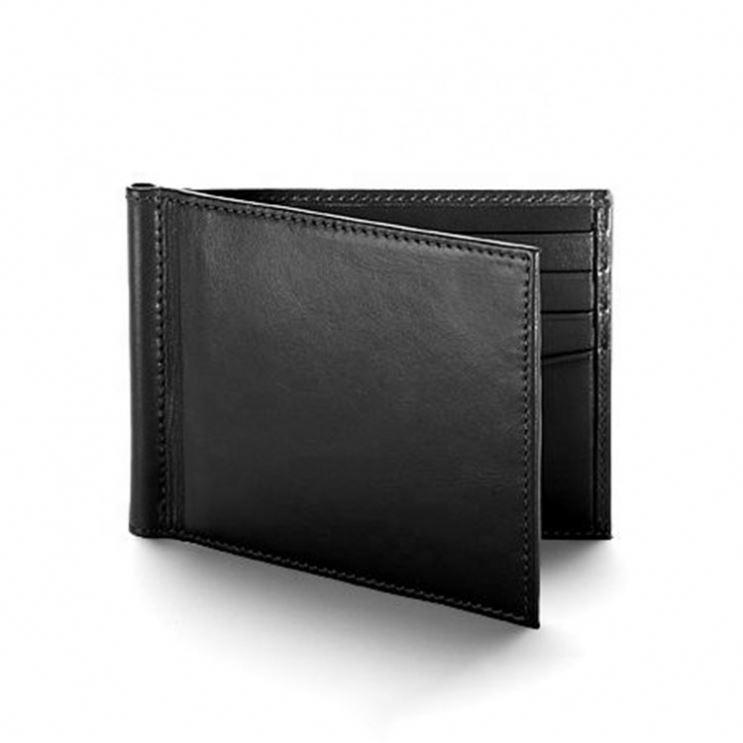 Black Smooth Leather Money Clip Billfold Wallet