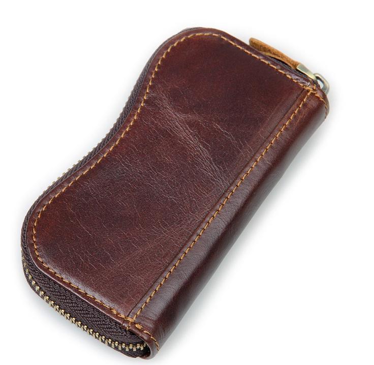 Custom Key Rings Genuine Leather Men Car Key Bag Wallet Coin PursePouch Card Holder