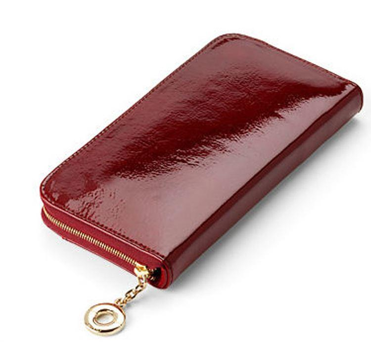 Red Patent Leather Zip Clutch Wallet for women