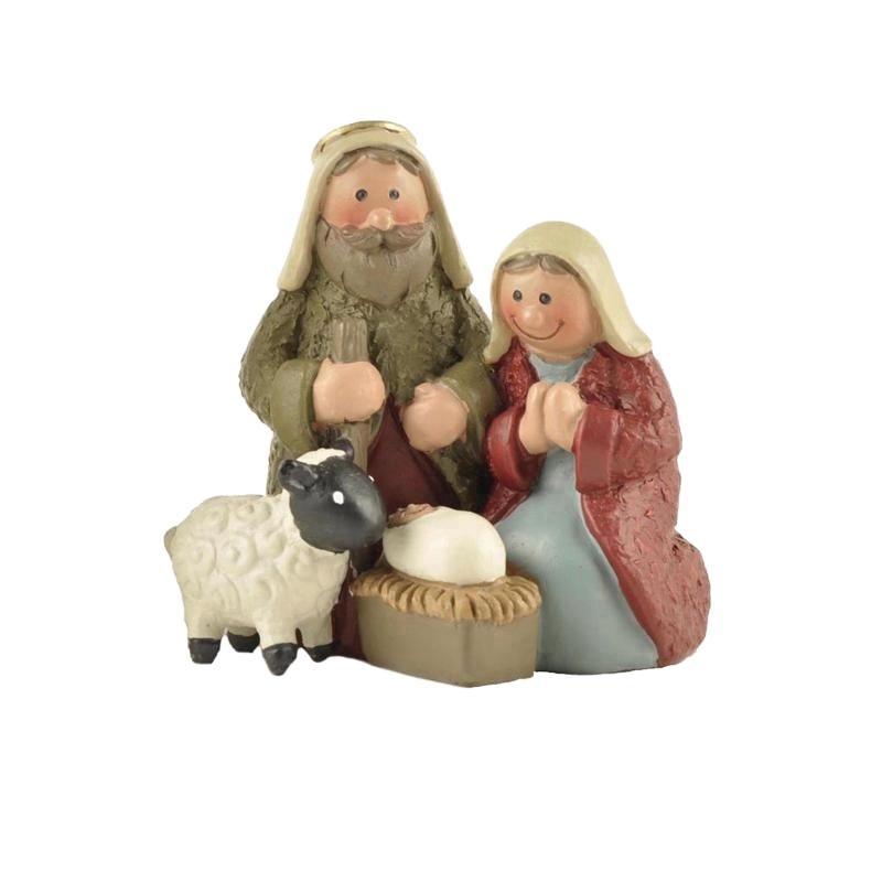Resin Christmas Nativity Scene Set with Mary Joseph and Baby Jesus Holy Family religious figures Christmas decoration