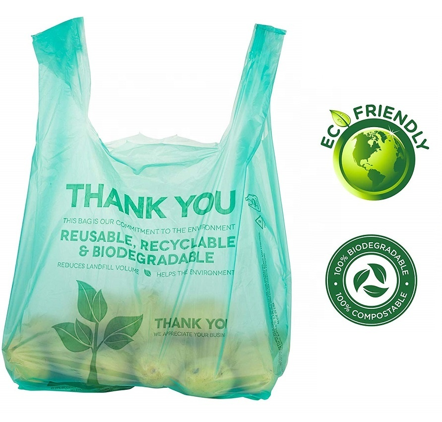 Eco Friendly Supermarket 100 Biodegradable Grocery Bags compostable Cornstarch Shopping Bags