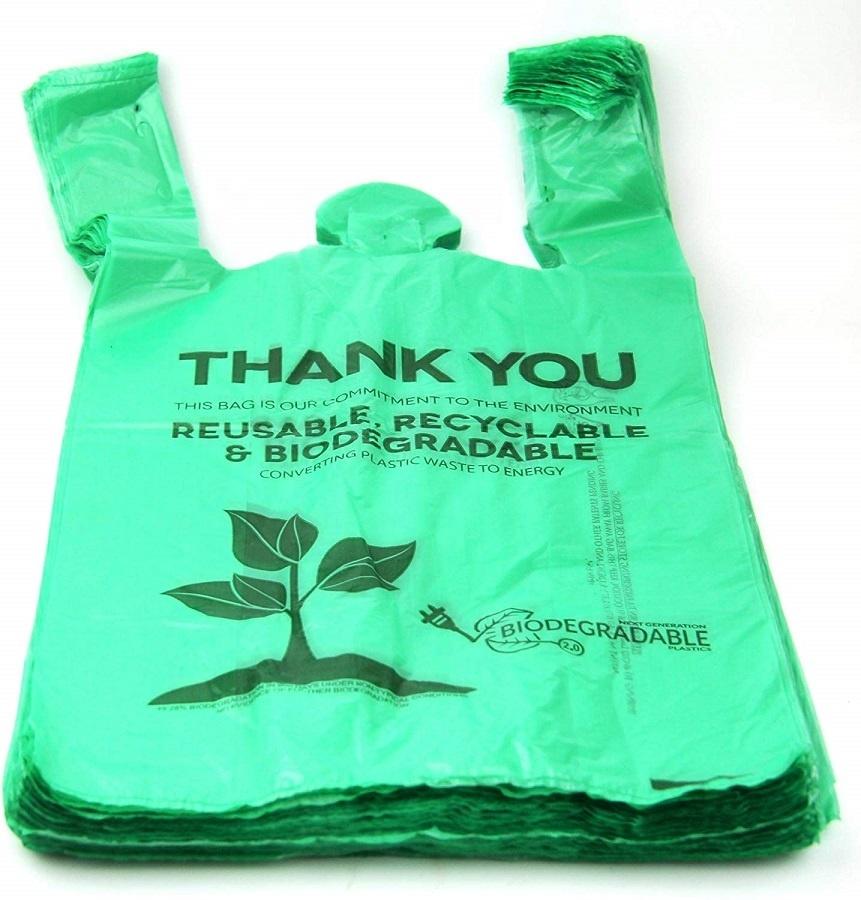OK compost 100% Corn starch biodegradable T-shirt bag vest bag compostable shopping bag for grocery