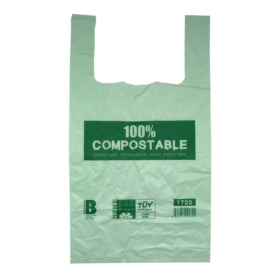 100% Biodegradable Eco Friendly Compostable T-Shirt Bags Shopping Bags