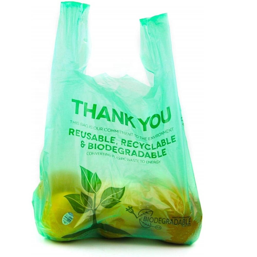 100 % Biodegradable Eco Friendly Compostable T-Shirt Bags Grocery Bags