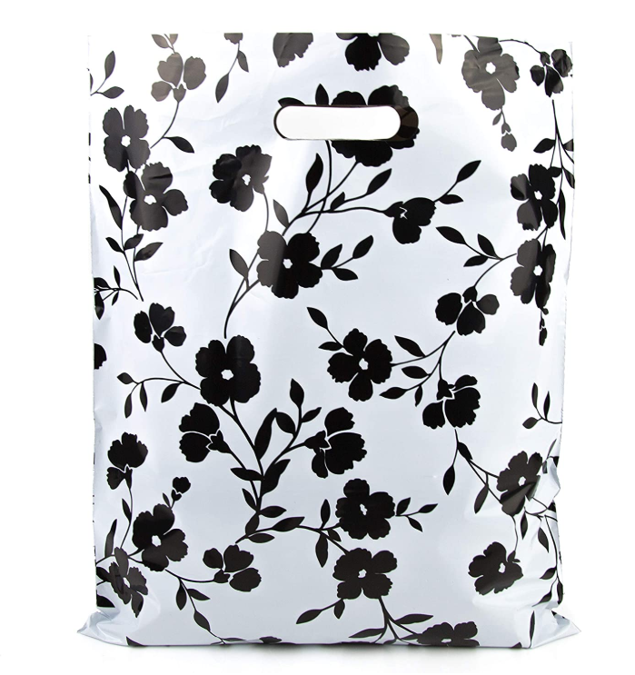 Biodegradable Plastic Merchandise Bags Black Floral Glossy Retail Shopping Bags For Boutique