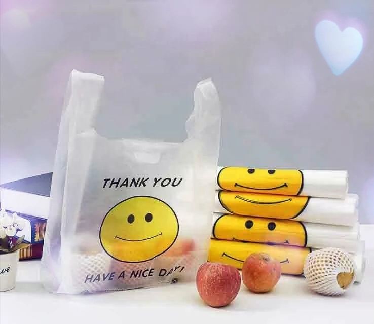Eco Friendly 100% Biodegradable and compostable t-shirt bags in roll for supermarket