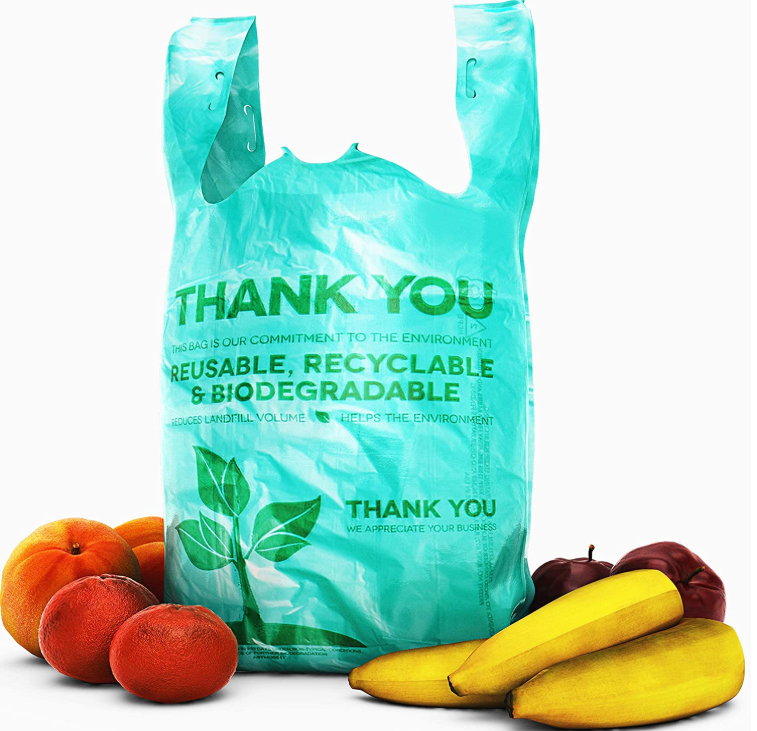 100% Biodegradable compostable T-shirt bag Shopping Bags Plastic Bags with Handles