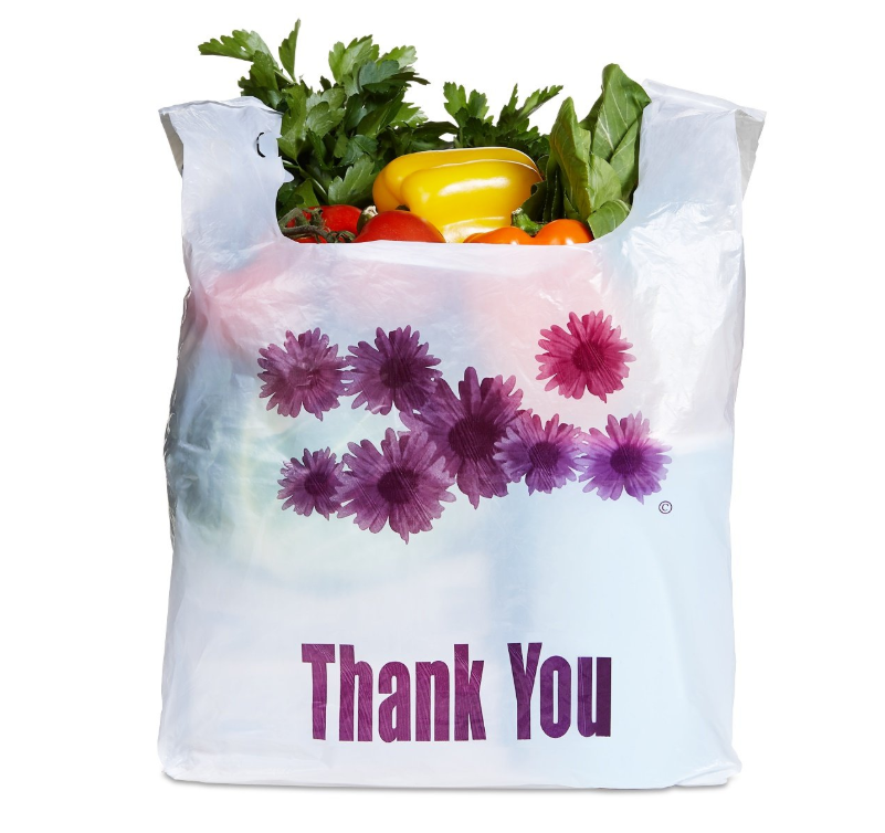Biodegradable Eco Friendly Compostable Purple Flower Thank You Plastic Heavy Duty Shopping Bags T-shirt Bags