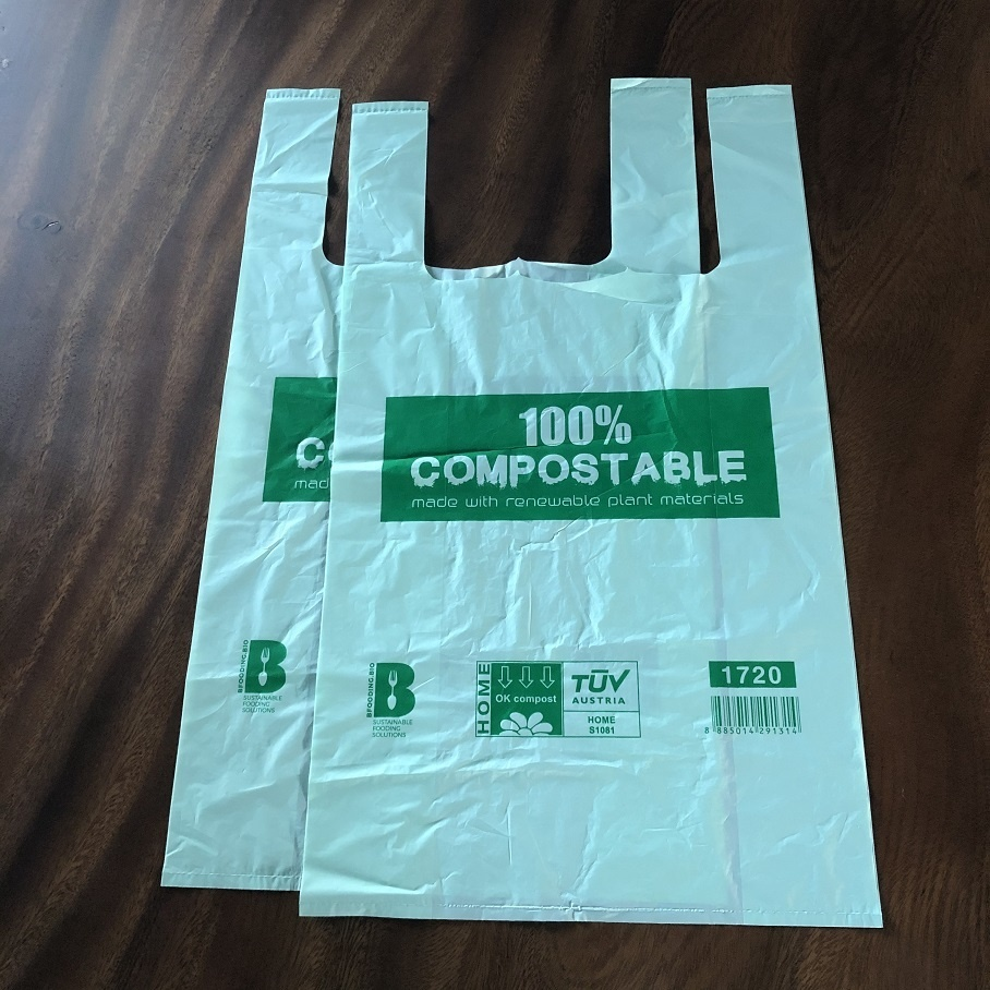 Custom logo Eco Friendly Compostable Grocery Bags 100% Biodegradable T-Shirt Bags