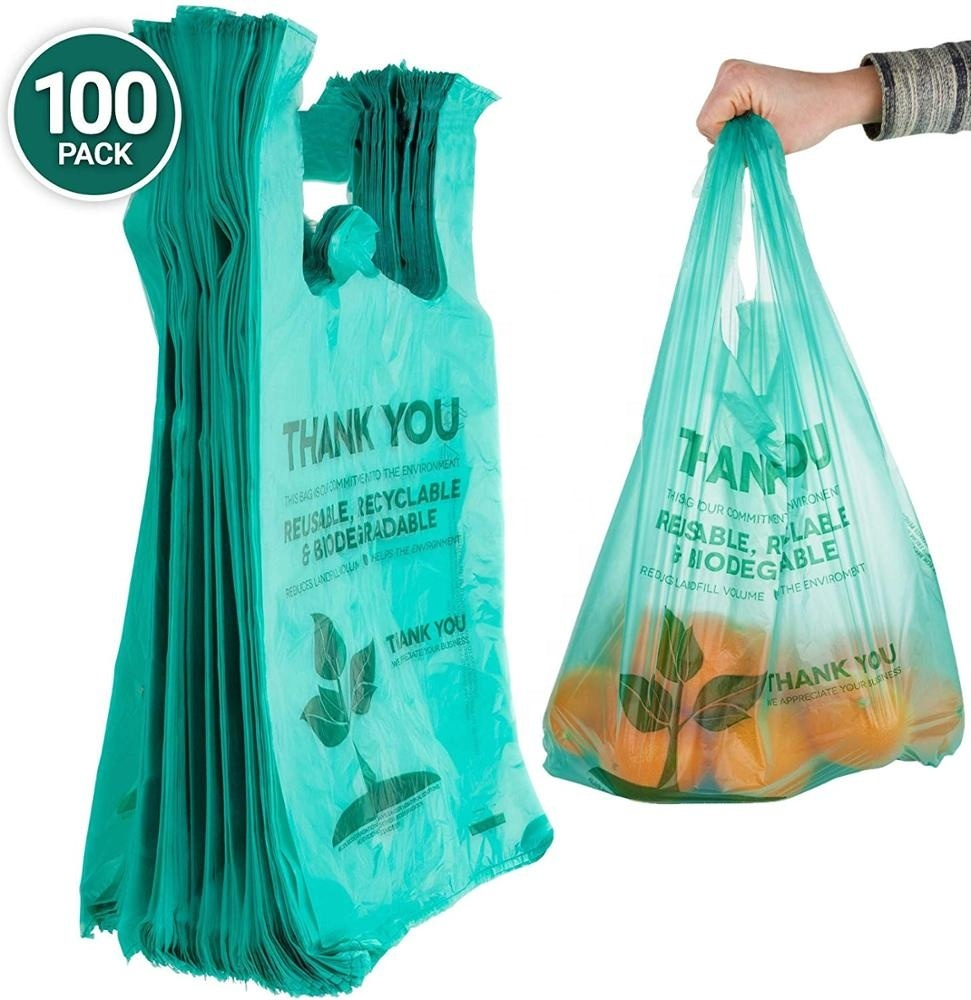 Eco Friendly Compostable T-Shirt Bags 100 Count shipping bag 100% Biodegradable Grocery Bags