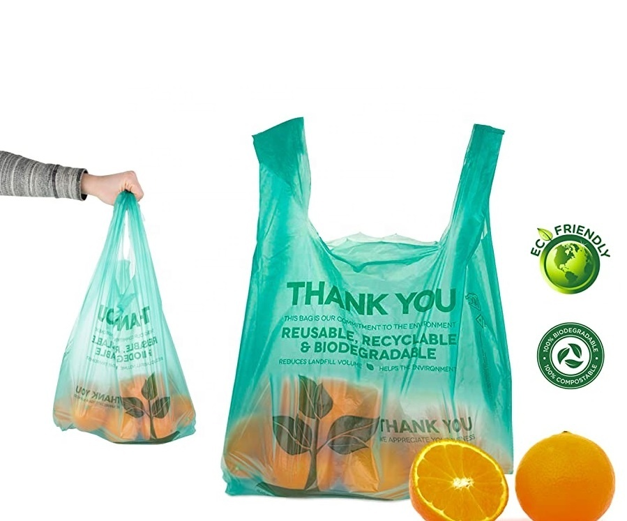 100% Plant Based Natural Biodegradable shopping Bags Compostable Non Plastic T-shirt Bags