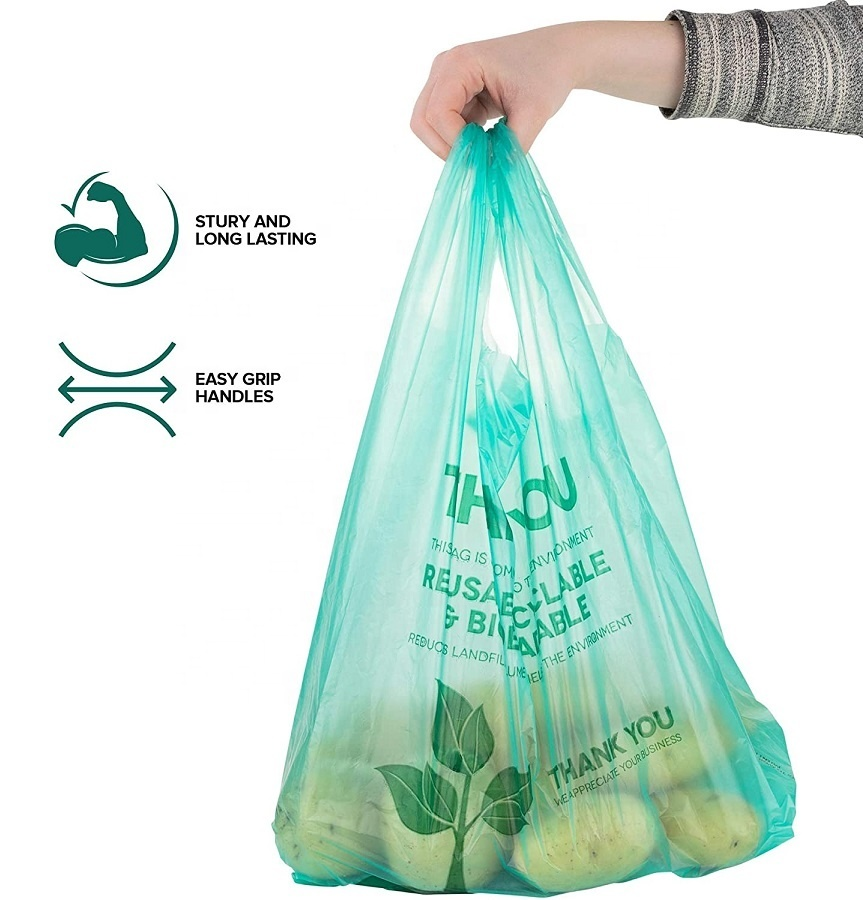 100% Biodegradable Compostable Logo Printed Colorful eco-friendly T-shirt Bag Vegetable Bag