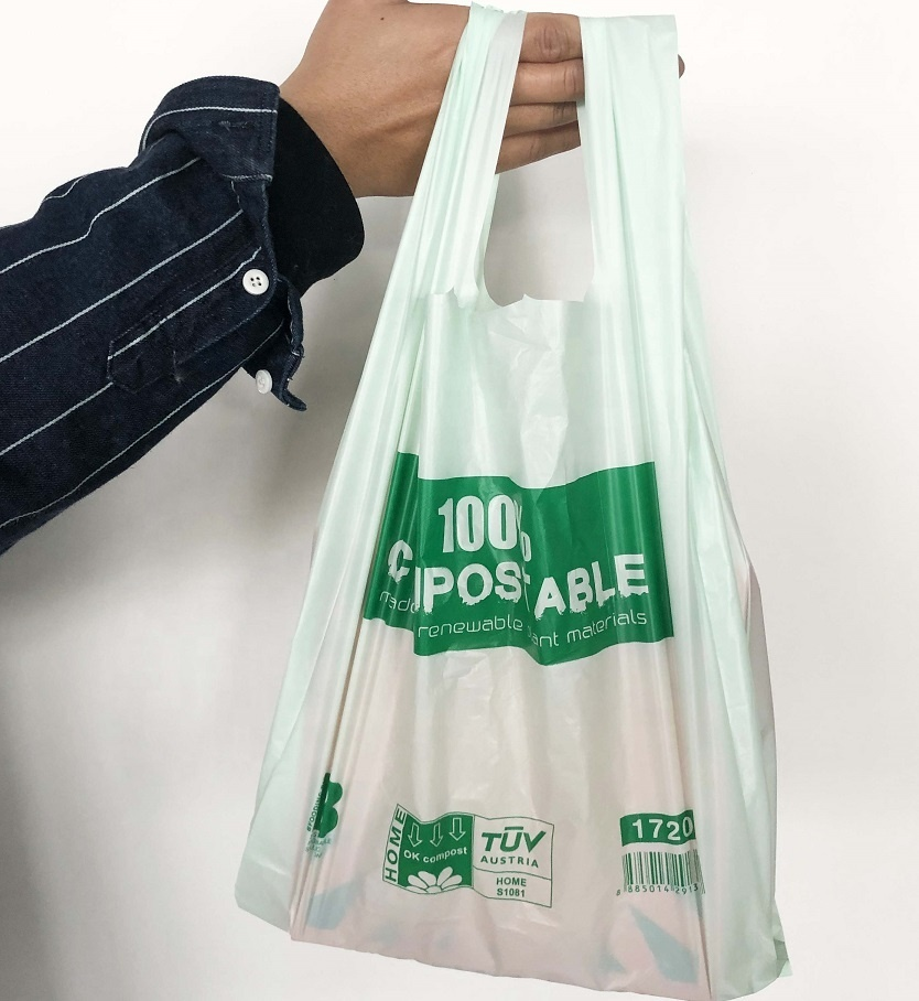 Custom Eco Friendly Compostable Grocery Bags 100% Biodegradable T-Shirt Bags