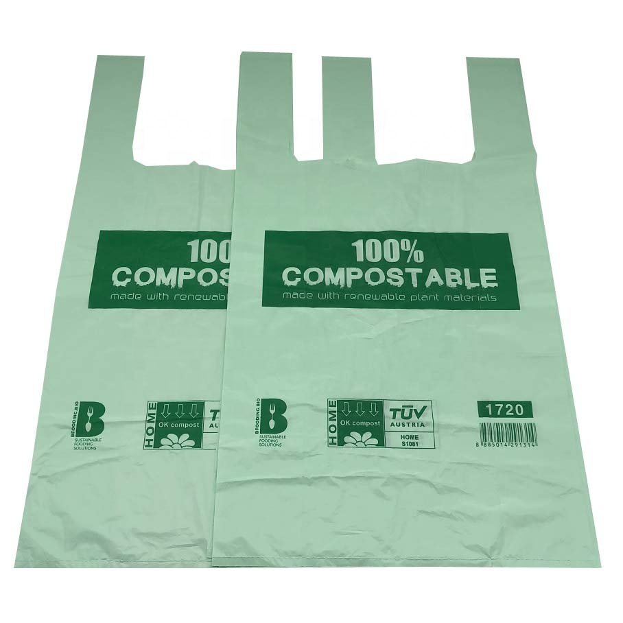 Eco Friendly Compostable T-Shirt Bags Biodegradable Shopping Bags