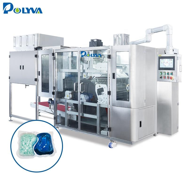 Polyva 2 in 1 laundry detergent pod vacuum packaging machine/ water soluble film packaging filling machine