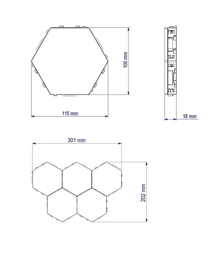 OEMWeb celebrity splice hand touch bright modular night light hexagonal black family quantum honeycomb induction wall lamp