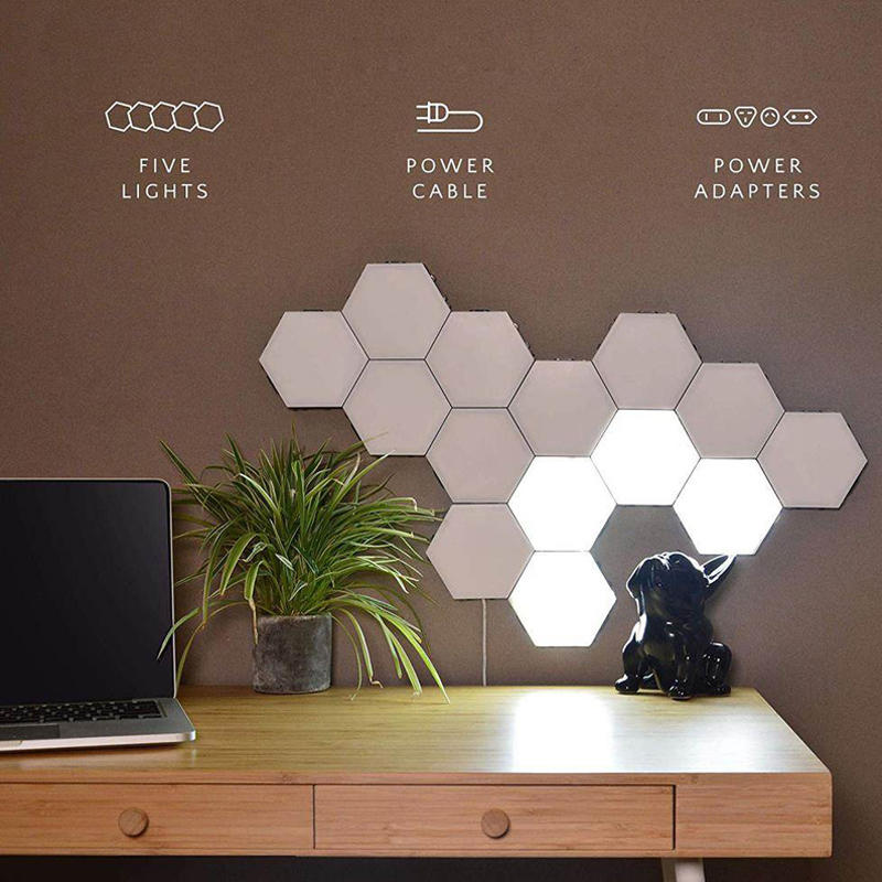 OEMWeb celebrity splice hand touch bright modular night light hexagonal black family quantum honeycomb induction wall lamp