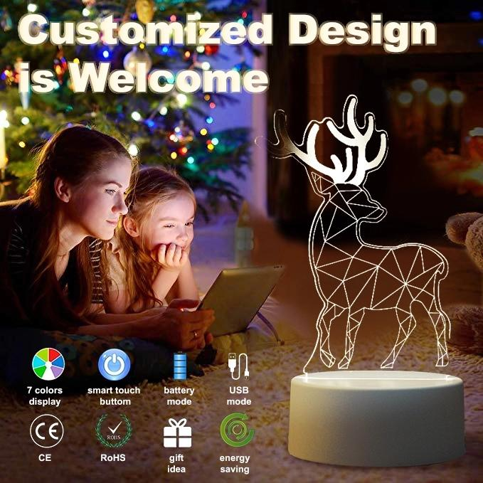 OEM Creative Acrylic Multi-color changing custom Led Night Light Table Lamp For Kids Children Gifts Bedroom 3d Illusion