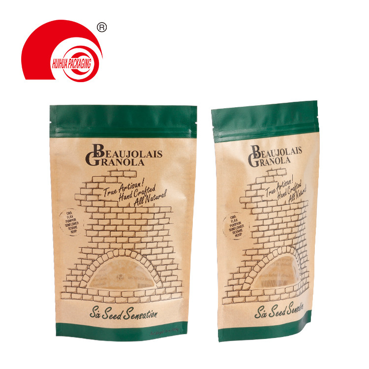 Custom Stand Up FKraft Paper Plastic Packaging Bag Clear Window Tear Notch Resealable Zip Lock Doypack