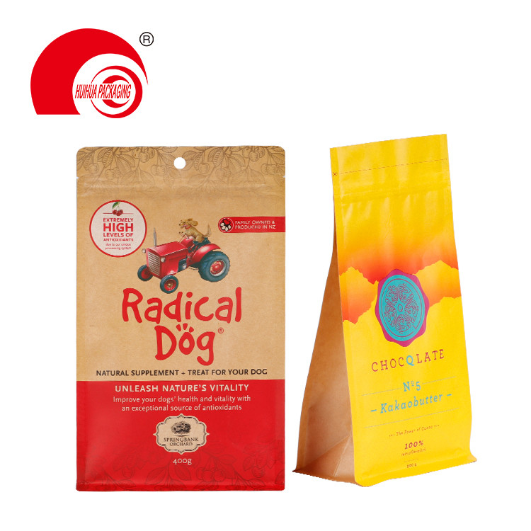 product-Food Grade Laminated Flat Bottom Pouch Kraft Paper Snack Dog Food Packaging Bag with Zipper--1
