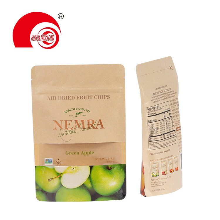 product-Huihua-Custom Logo Kraft Paper Stand Up Pouch Fruit Packaging Doypack with Window Resealable