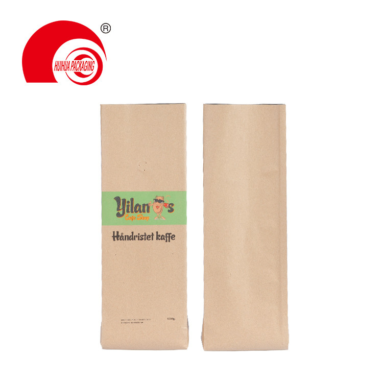 1/2lbs 1lbs 2lbs 5lbs Customized Kraft Paper Packaging Bag Side Gusset Pouch with One Way Degassing Valve