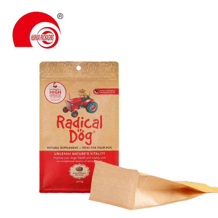 Food Grade Laminated Flat Bottom Pouch Kraft Paper Snack Dog Food Packaging Bag with Zipper