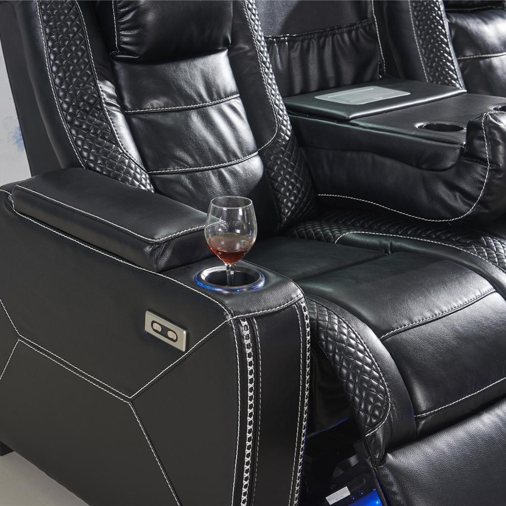 Modern LuxuryHome Theater part time Reclining sofa with top leather 3seater with LED and reading light