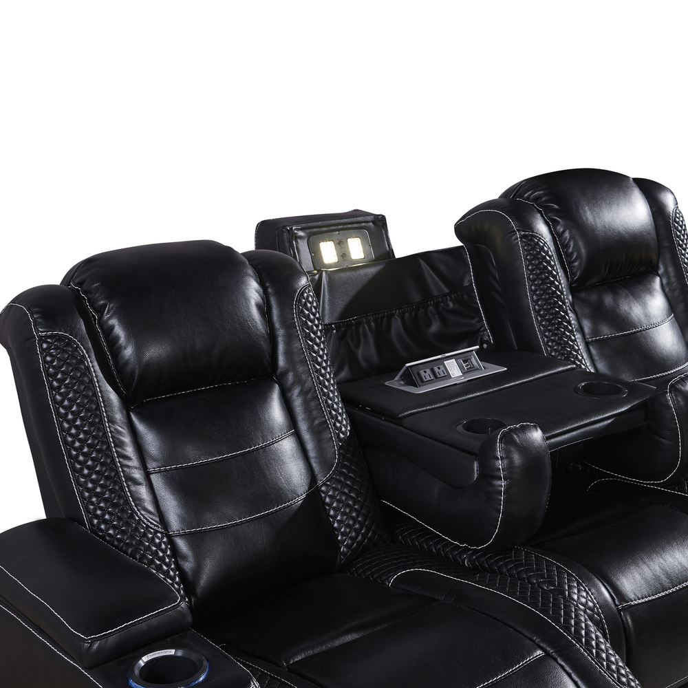 2021 newest designs 3-Seater black Leather VIP Home Theater power Recliner with Storage Consoles