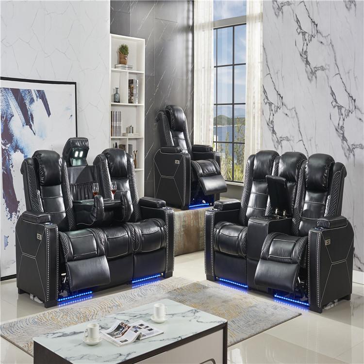 2019 new luxury home cinema sofa theatre sofa with foot lighting