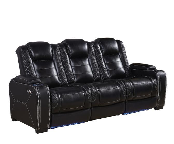 air leather reclining power sofa with adjustable headrests and storage in armrests-A150