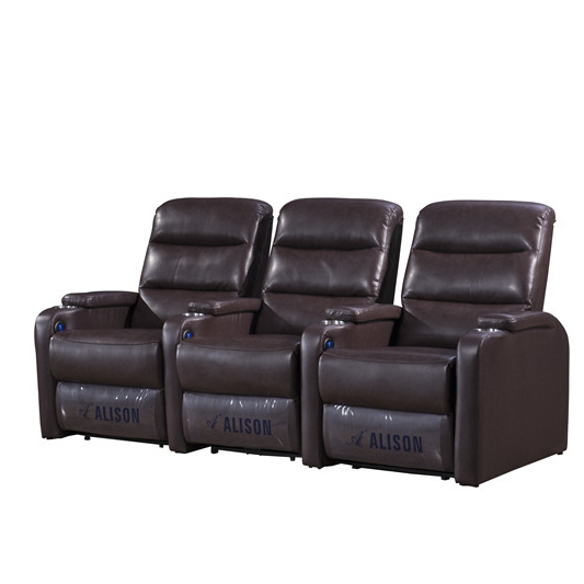 2021 Manual Home Theater SeatingCinema Recliner Sofa top grain leather