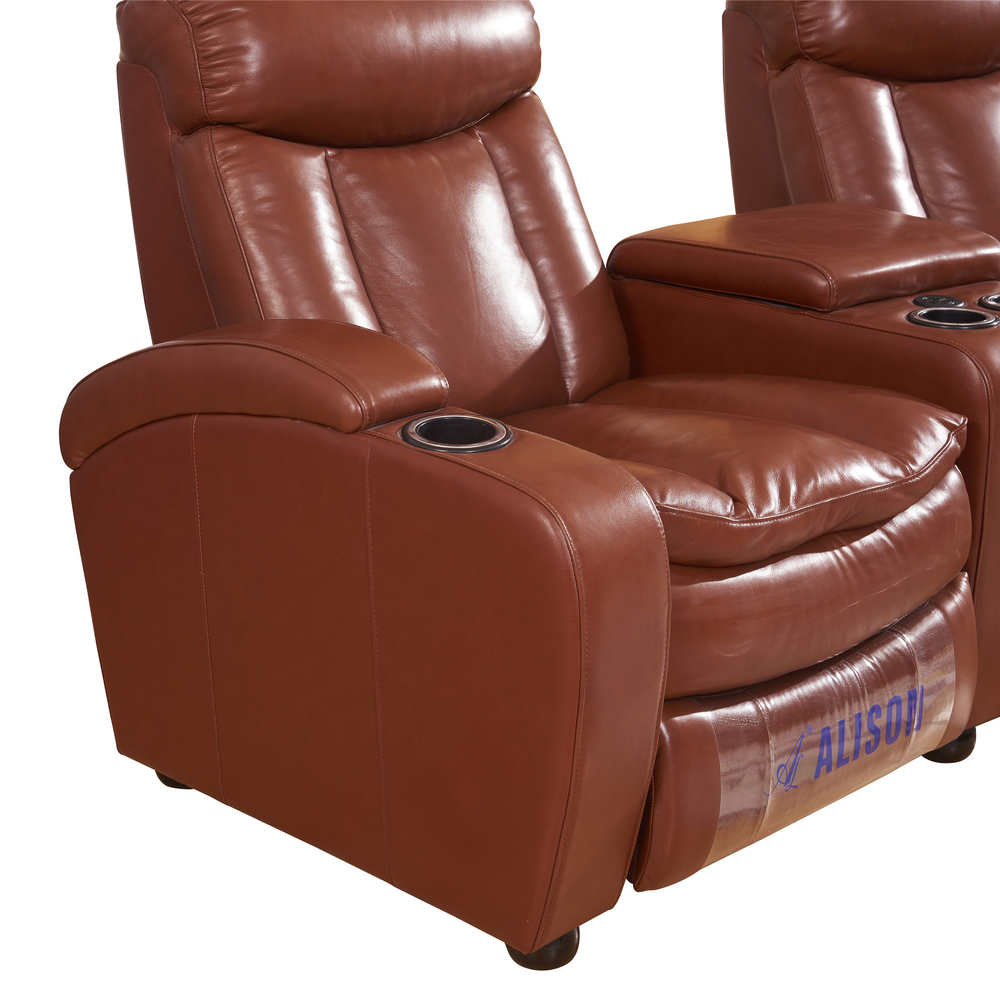 Row of 3 top Leather Sofa manualRecliner Chair Home Theater Seating