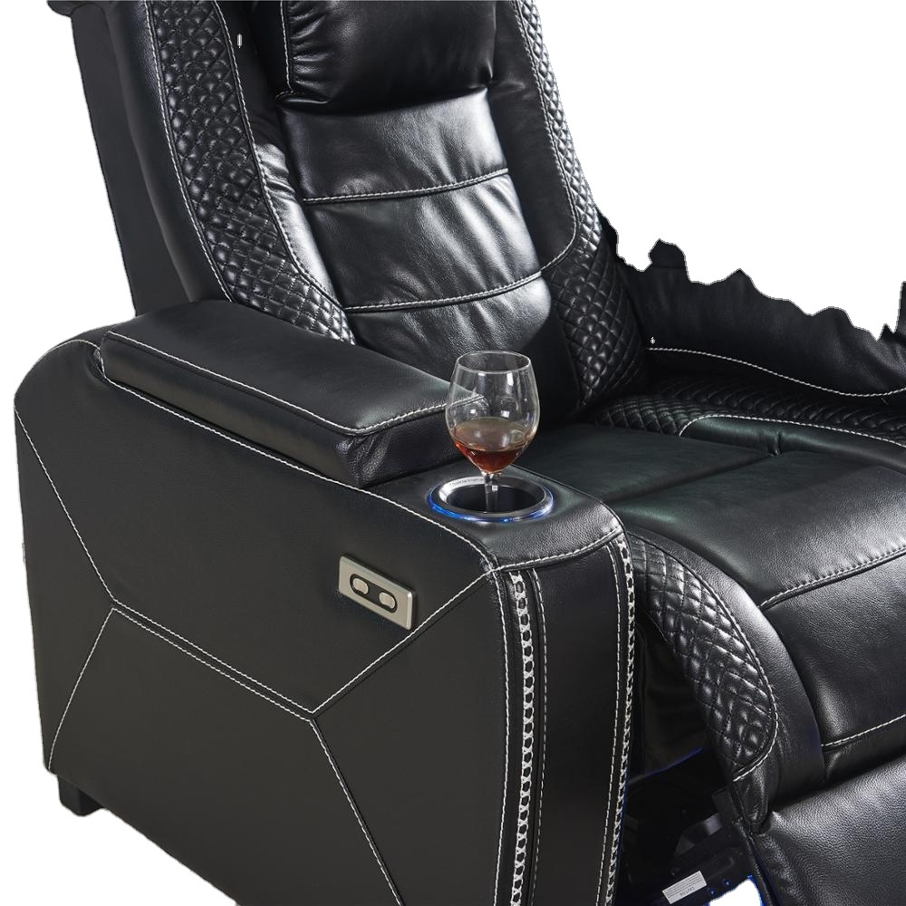 2021 home theater home cinema reclinerleather sectional sofa with storge consoles