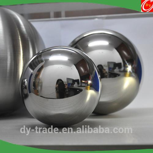 Garden Sculpture of Floating Mirrored Steel Sphere