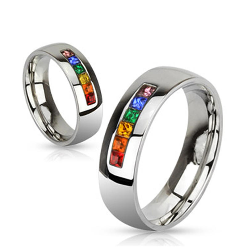 Colorful Cz Stainless Steel Jewelry Fashion Couples Finger Ring