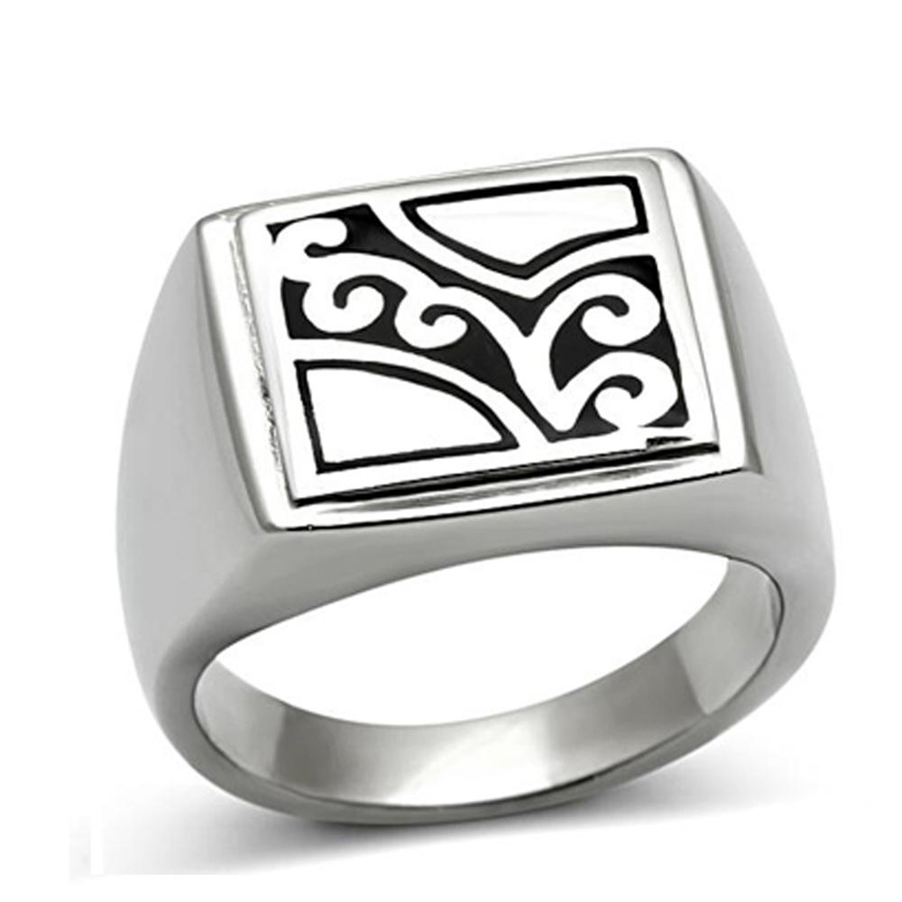 Square with white painting moroccan silver ring jewelry